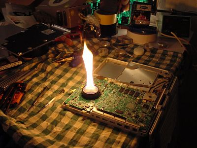 resoldering iBook video chip with fire.
