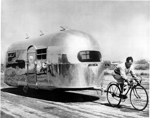 Airstream pulled by bicycle