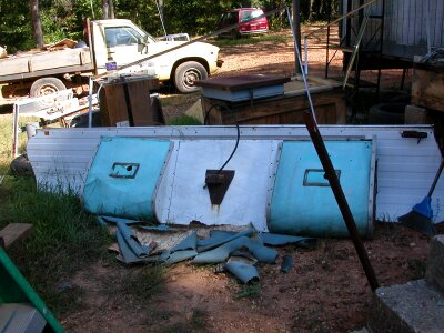 Old parts of the popup camper.