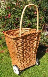 Wheeled woven willow shopping basket